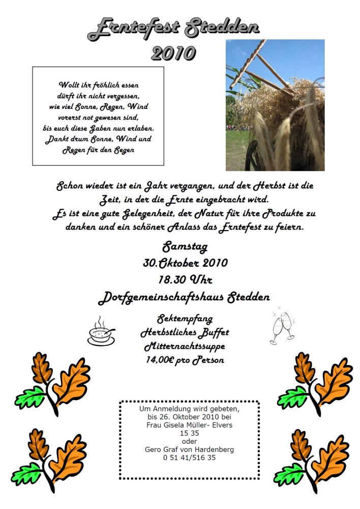 Einladung zum Erntefest 2010