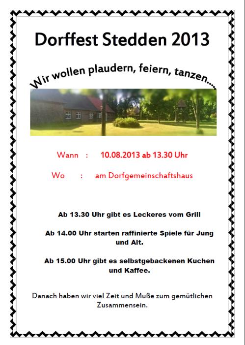 Programm Dorffest 2013