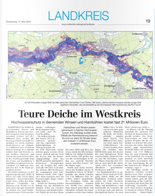 Screenshot zum Artikel, Quelle: Cellesche Zeitung