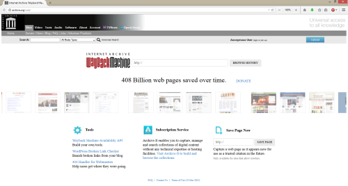 Screenshot: Internet Archive - WayBackMachine