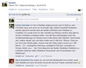 Screenshot: Steddener facebook-Seite