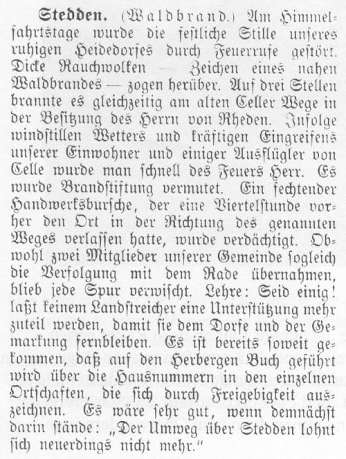 1909 - Waldbrand in Stedden