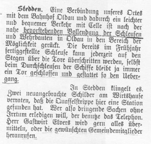 1910 - Telefon und Oldau